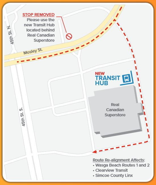New Transit Hub Location is now located on the East Side of the Real Canadian superstore